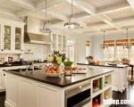 Tủ bếp gỗ sồi sơn trắng phong cách mới, nét đẹp của sự hoành tráng