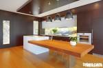 Tủ bếp gỗ Laminate màu vàng chữ I TBT0362