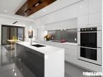 Tủ bếp gỗ MDF Acrylic có bàn đảo – TBN005