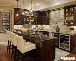 Tủ bếp gỗ xoan đào sơn men trắng chữ U TBT0387