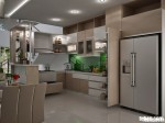 Tủ bếp gỗ Laminate có bar TBN0010