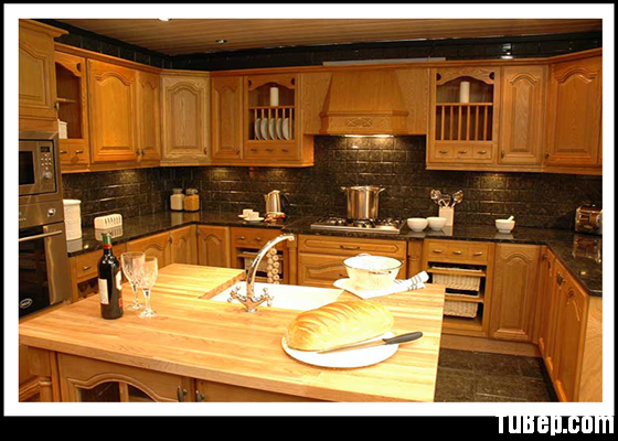 Solid Cathedral Ash Tủ bếp gỗ Tần Bì tự nhiên có đảo TBN009