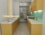 Tủ bếp gỗ Laminate chữ L màu xám pha trắng TBT0385