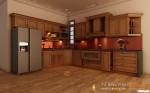 Tủ bếp gỗ Xoan Đào sơn men có đảo TBT0356