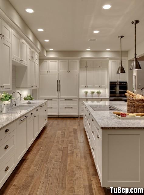 transitional kitchen11 Tủ bếp gỗ tự nhiên sơn men trắng + bàn đảo – TBN003