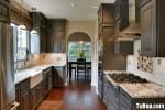 Tủ bếp gỗ tự nhiên sơn men trắng chữ L có đảo TBT0528