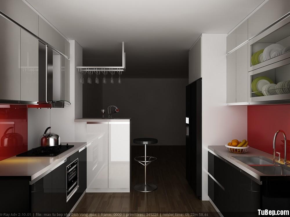 Nhà anh Hải Dịch Vọng 3D Tủ bếp gỗ MDF Acrylic có bàn Bar mini – TBB0019
