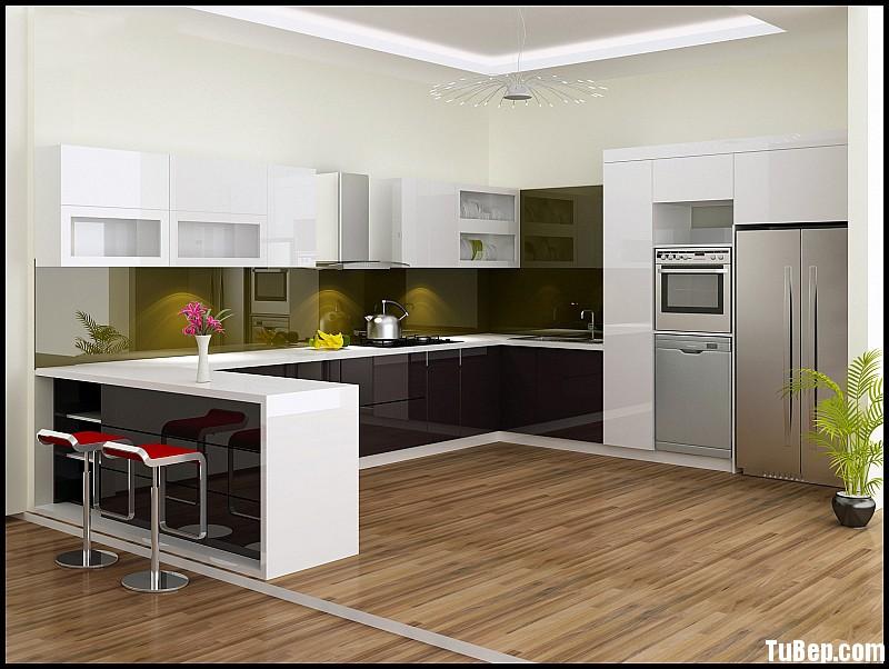 tu bep chu u cao cap Tủ bếp Acrylic có bar TBN0108