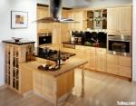 Tủ bếp gỗ tự nhiên sơn men đen chữ I TBT0521