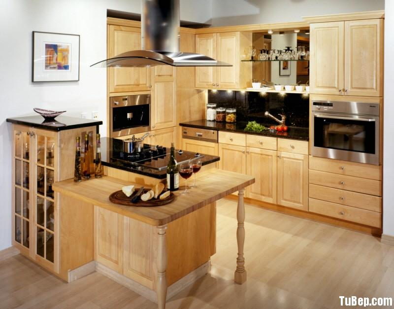 970natural Tủ bếp gỗ tần bì có đảo TBT0082