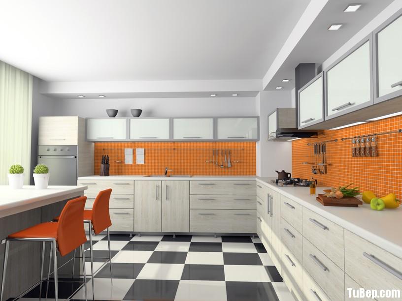 Laminate vân nổi màu nhạt Tủ bếp Laminate có đảo TBN0230