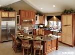 Tủ bếp gỗ Sồi Nga , có bàn đảo – TBB117