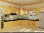 Tủ bếp gỗ Laminate màu vân gỗ chữ L có đảo TBT0598