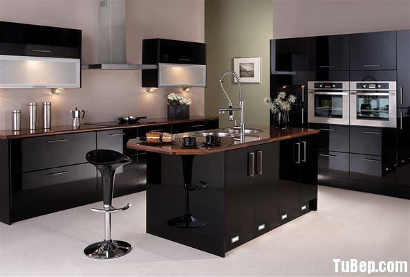 Felton glossblack Tủ bếp gỗ Acrylic có đảo TBT0117