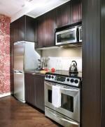 Tủ bếp gỗ Acrylic hình chữ I màu trắng có đảo TBT0426