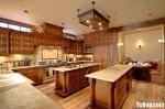 Tủ bếp gỗ dổi, có bàn đảo – TBB089