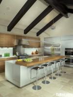 Tủ bếp gỗ tự nhiên sơn men có đảo TBT0456