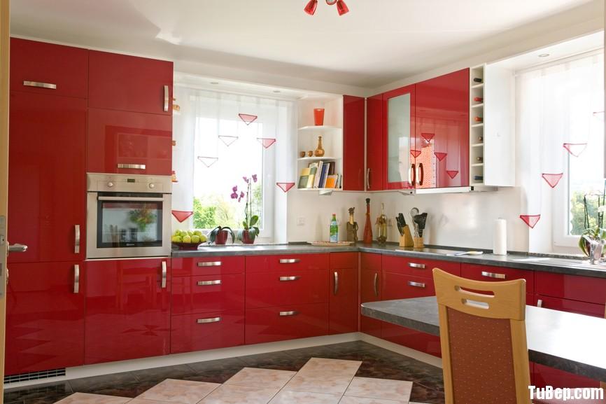 acrylic màu đỏ Tủ bếp gỗ Acrylic TBN0208