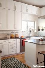 Tủ bếp gỗ Sồi  tự nhiên sơn men, có bàn đảo – TBB224