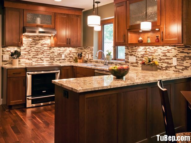 DP Chantal Devane Brown Kitchen Tile Backsplash s4x3 lg Tủ bếp gỗ căm xe chữ U TBT0087