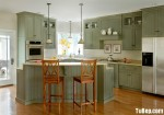 Tủ bếp gỗ Sồi Nga sơn men, có bàn đảo – TBB100