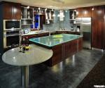 Tủ bếp gỗ Verneer đỏ chữ L kết hợp bàn đảo TBT0027