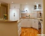 Tủ bếp gỗ tự nhiên sơn men trắng + bàn bar – TBB231