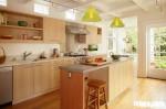 Tủ bếp Laminate màu vân gỗ chữ I có đảo TBT0526