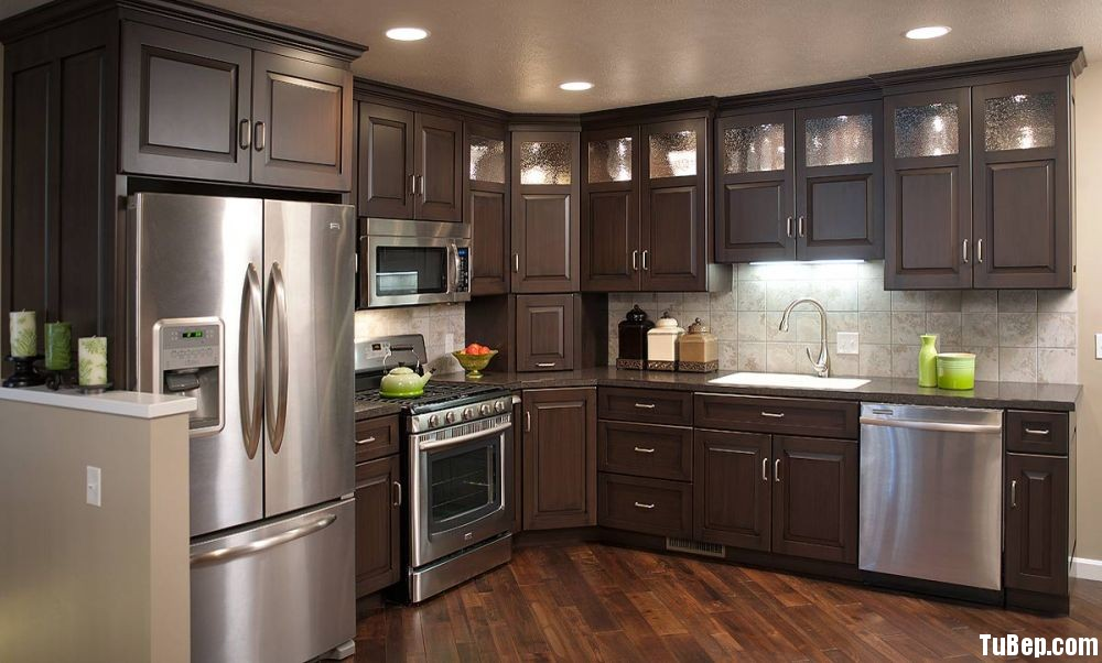 Sồi sơn men Tủ bếp gỗ tự nhiên TBT0253