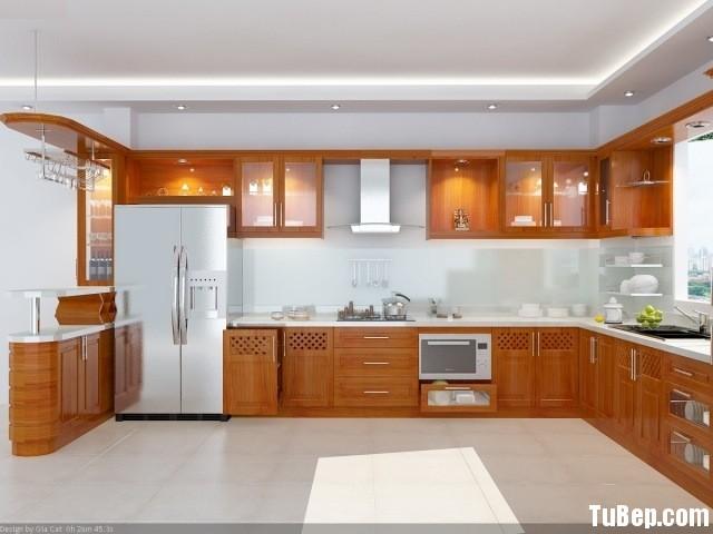 tubep xoan dao Tủ bếp gỗ xoan đào, có quầy bar – TBB024
