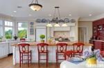 Tủ bếp Lamiante màu vân gỗ chữ I có bàn đảo TBT0452
