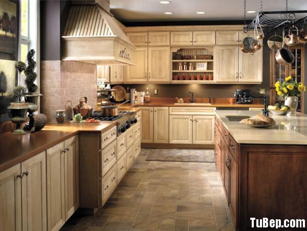 sồi 1 Tủ bếp gỗ Sồi sơn men, có bàn đảo – TBB068