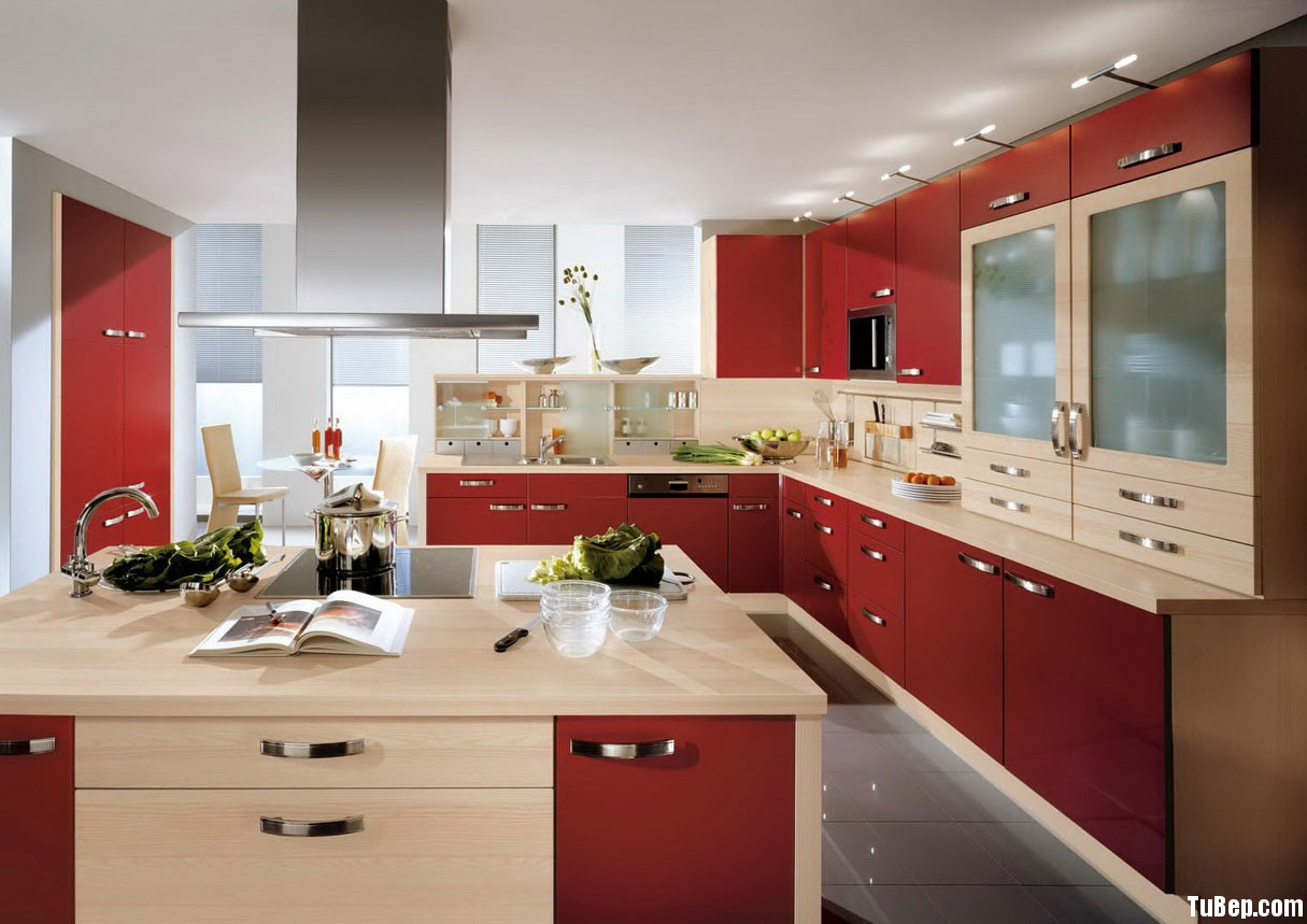 Pictures of Beautiful Kitchens Red Color Ideas Tủ bếp laminate có đảo TBN0078
