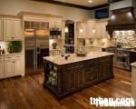 Tủ bếp gỗ Sồi tự nhiên sơn men,có tủ kho-TBB040.