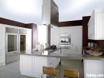Tủ bếp gỗ Sồi tự nhiên sơn men trắng chữ I TBT0659