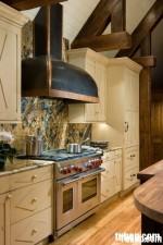 Tủ bếp gỗ MDF sơn men có đảo TBT0420