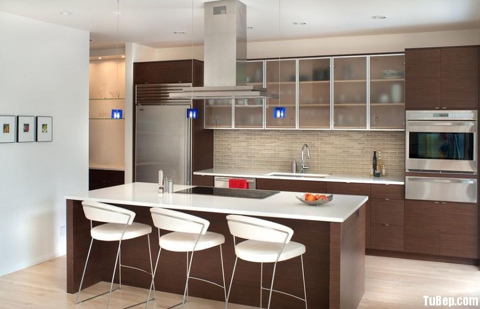 Acrylic vân gỗ nhạc Tủ bếp Acrylic có đảo TBT0276