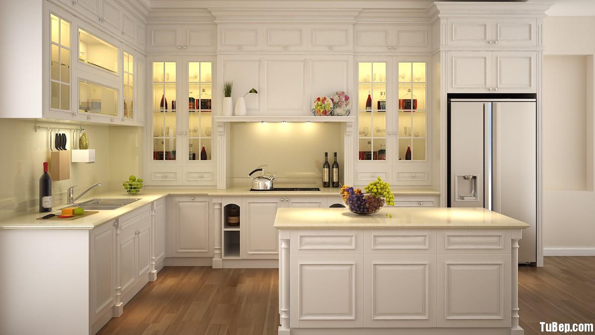 tu bep casta 002 01 Tủ bếp gỗ sồi sơn men trắng chữ L TBT0055