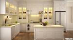 Tủ bếp gỗ sồi sơn men trắng chữ L TBT0055