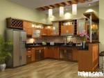 Tủ bếp gỗ dổi có bar – TBB049