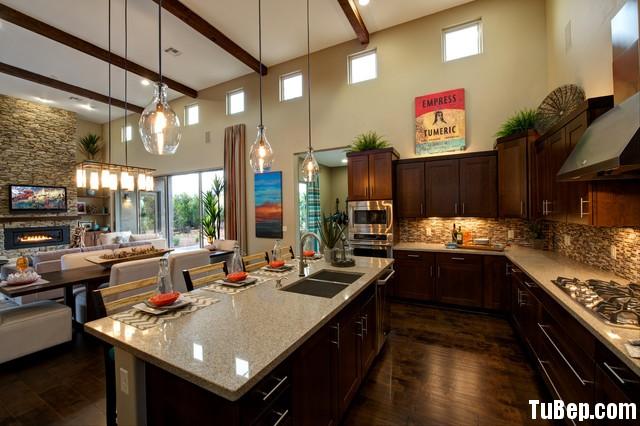 transitional kitchen Tủ bếp gỗ xoan đào, có bàn đảo – TBB033