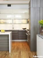 Tủ bếp gỗ Tần Bì (Ash) tự nhiên chữ U có đảo TBT0852