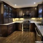 Tủ bếp gỗ Dổi, có tủ rượu – TBB206