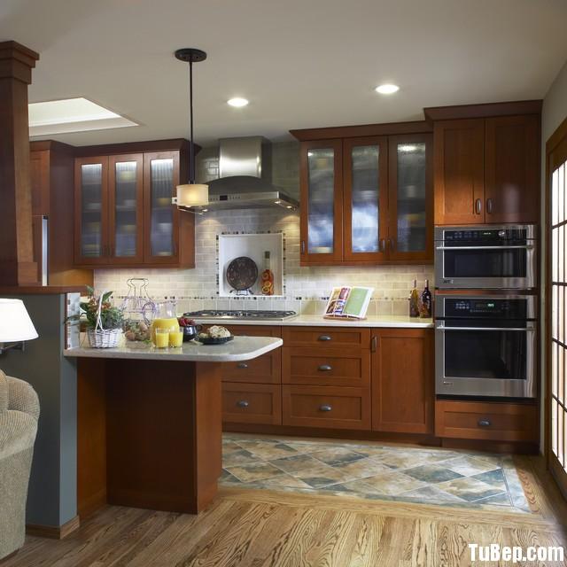 2406 Gỗ xoan đào Tủ bếp hình chữ I gỗ xoan đào   TBB212