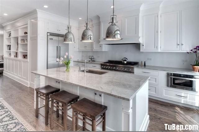 modern kitchen gỗ sồi sơn men Tủ bếp gỗ Sồi tự nhiên sơn men có bàn đảo và hệ tủ kho – TBB036
