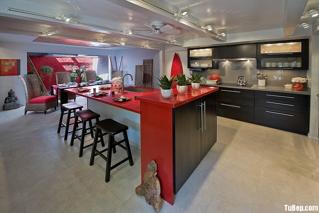 Laminate đen Tủ bếp gỗ Laminate có đảo TBT0248