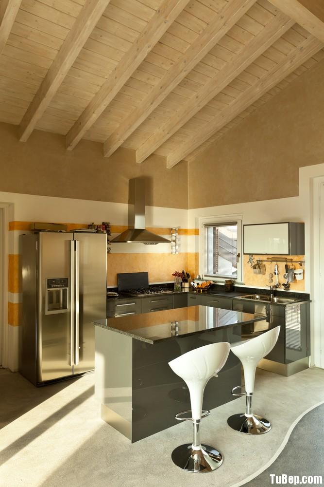 acrylic màu xám Tủ bếp Acrylic có đảo TBN0214