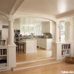Tủ bếp gỗ Sồi sơn men, có bàn đảo – TBB072