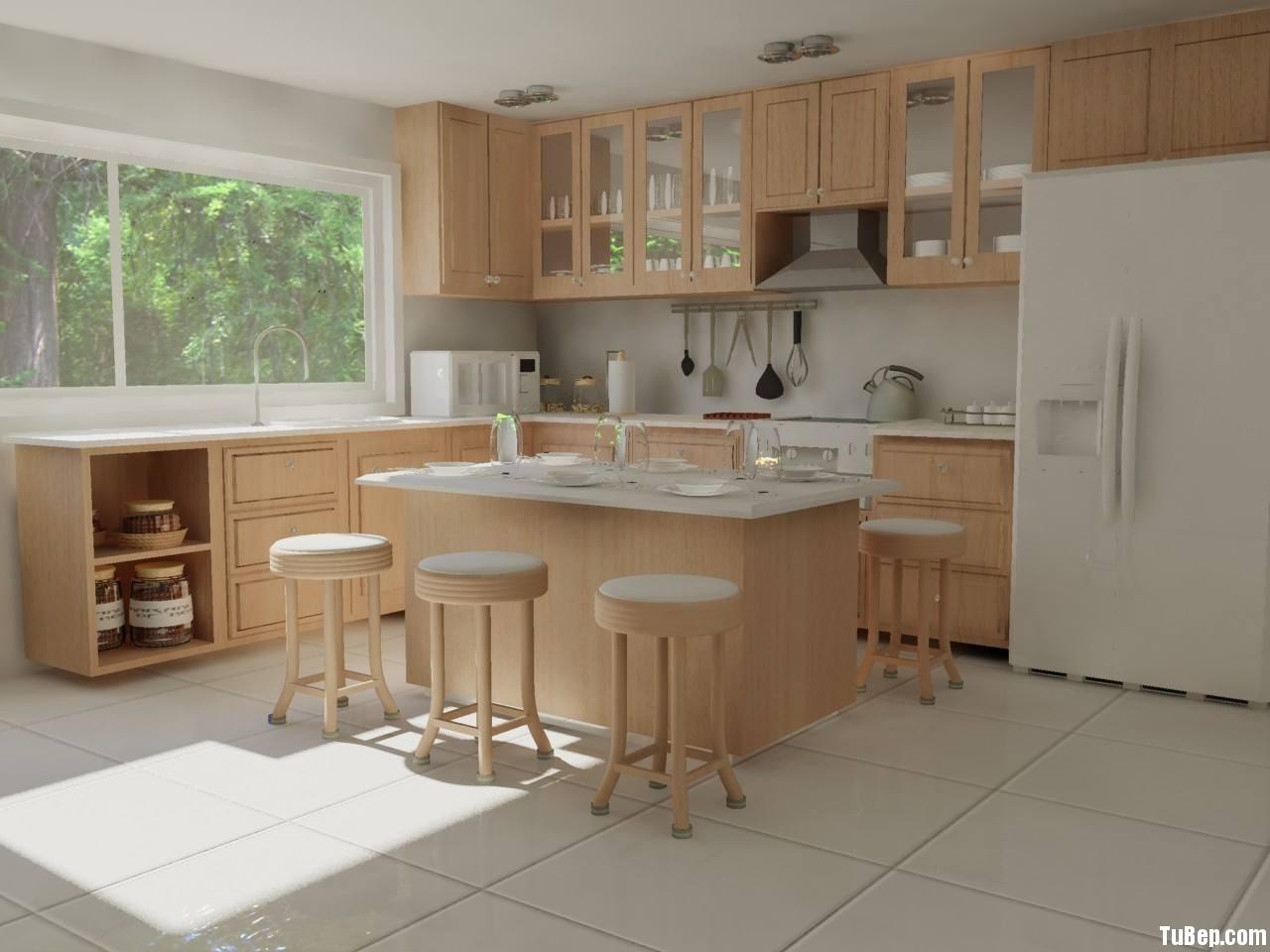 h2 Tủ bếp gỗ xoan đào tự nhiên có đảo TBT0028