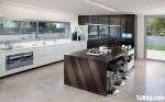 Tủ bếp gỗ Sồi sơn men trắng chữ L TBT0464
